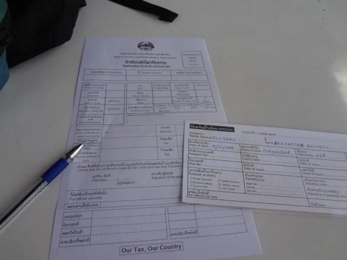 The paperwork for a Laos visa.