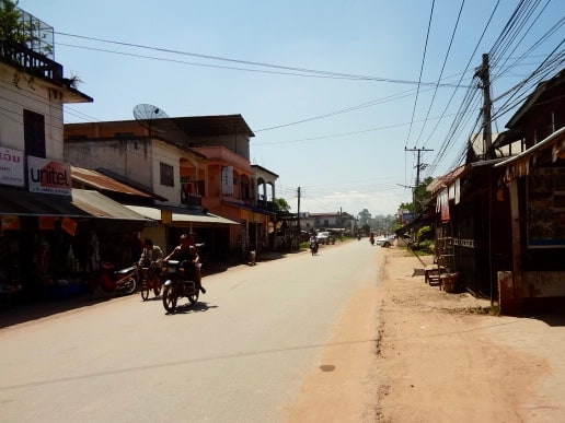 The main street of Muang Sing, Laos.