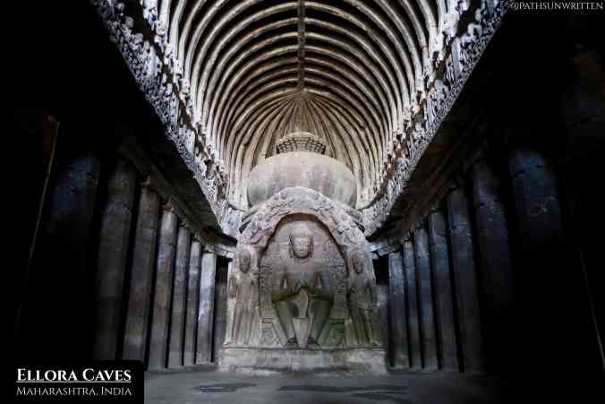 Ellora Caves are made up of holy shrine cut from solid rock for Hindus, Buddhists and Jains.