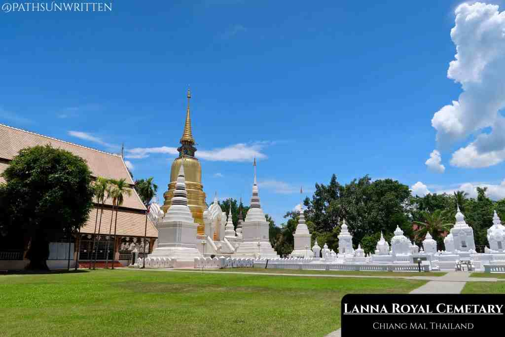 The collection of white stupas is the historic Lanna Royal Cemetery.