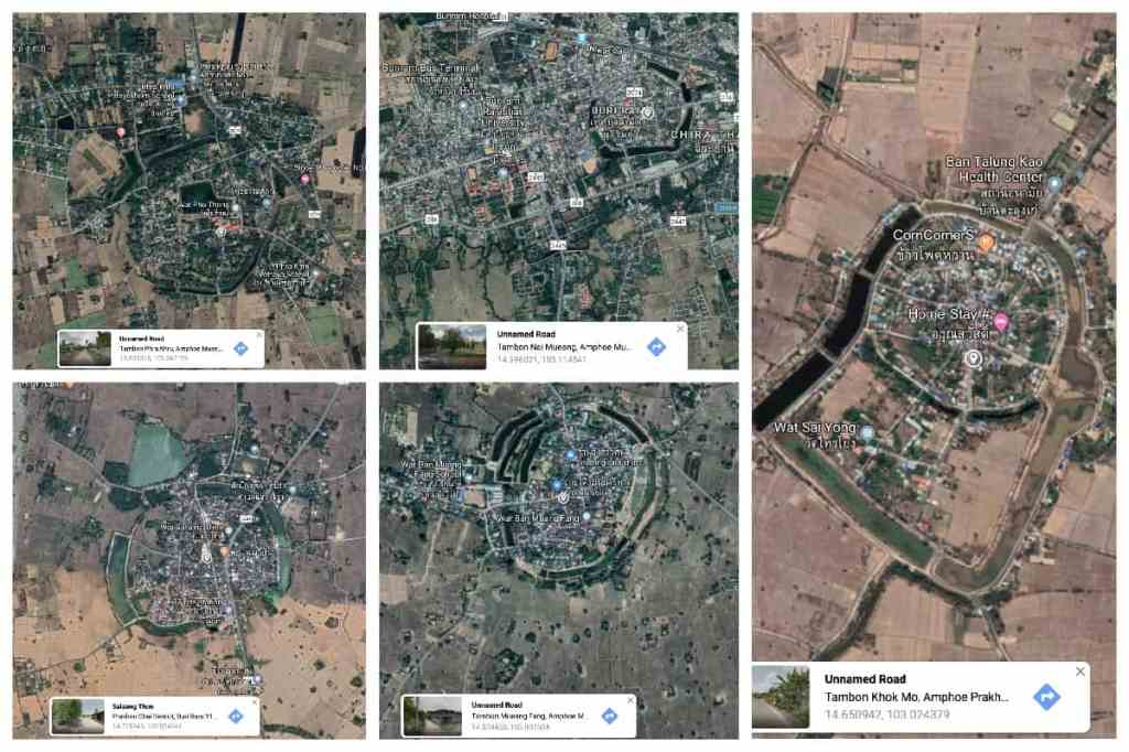 A selection of 5 ancient moated cities in Buriram, all within 50 km of each other.