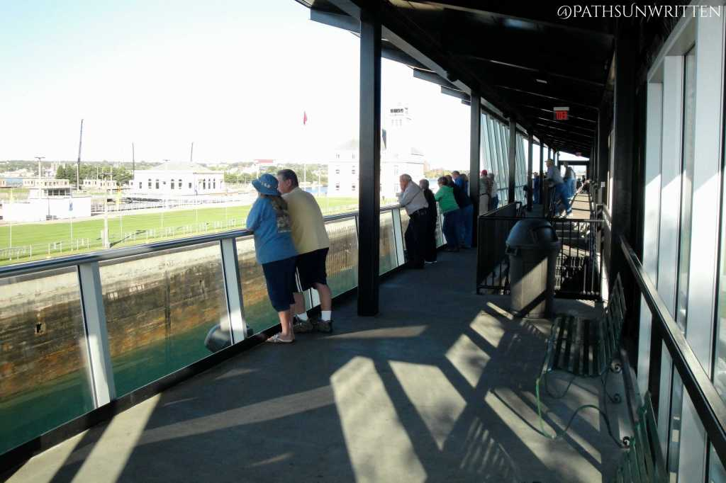Watching the freighters from the Soo Locks Park viewing platform.