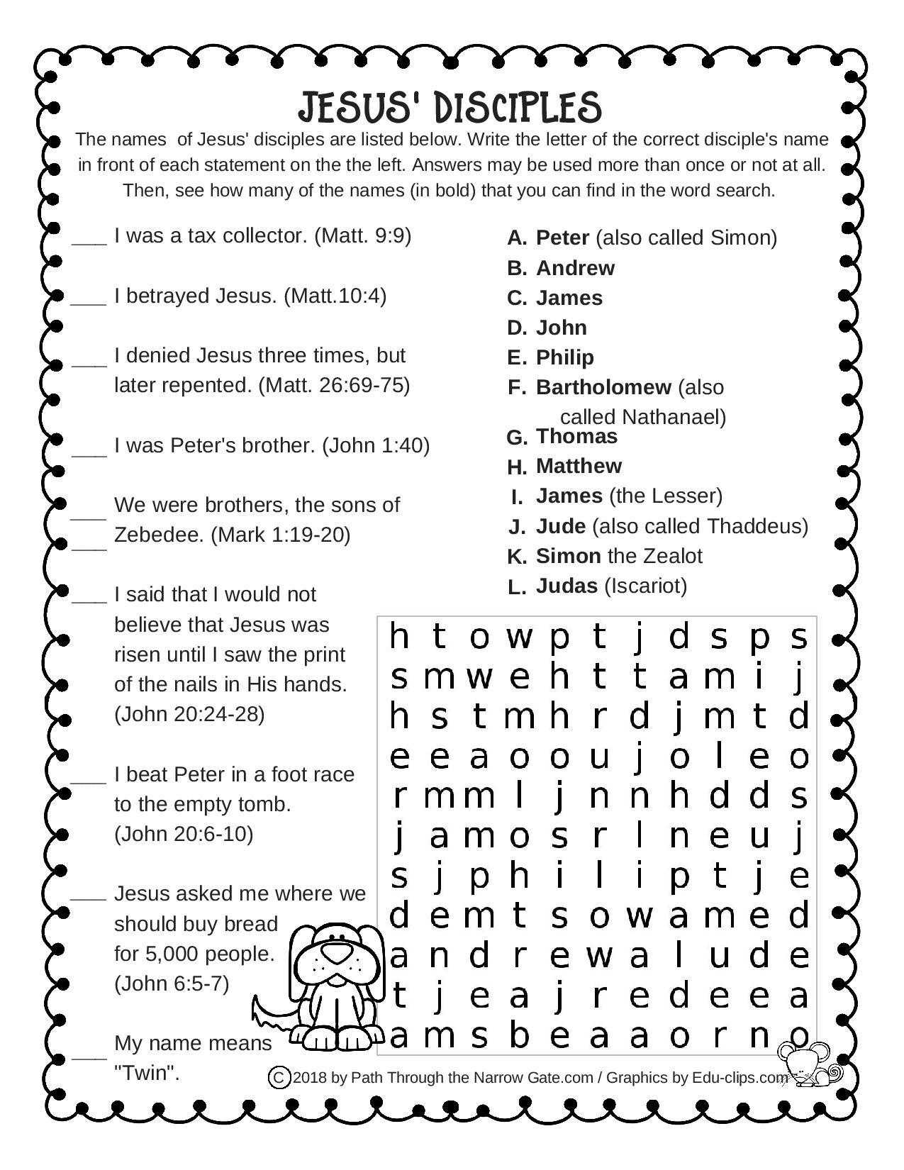 Jesus Disciples Worksheet