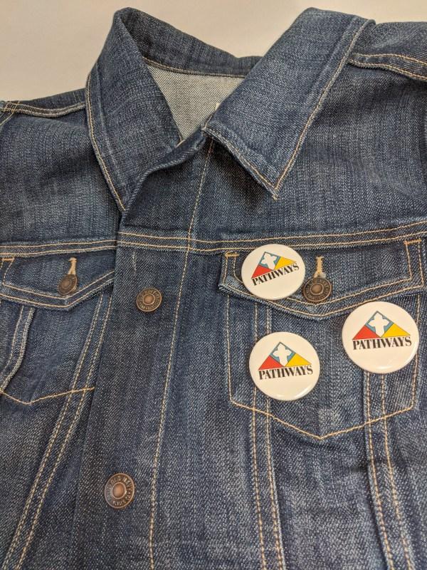 Pathways buttons on jean jacket