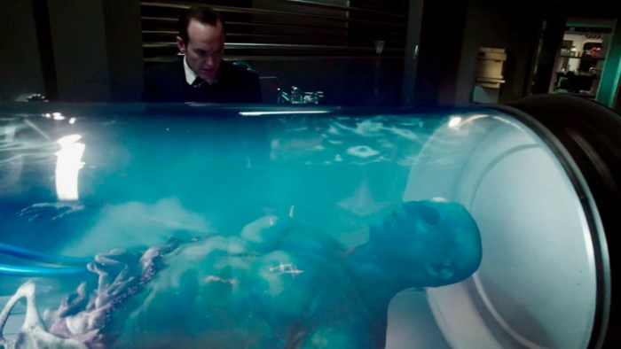 Coulson encounters the body of a Kree at the T.A.H.I.T.I. facility.