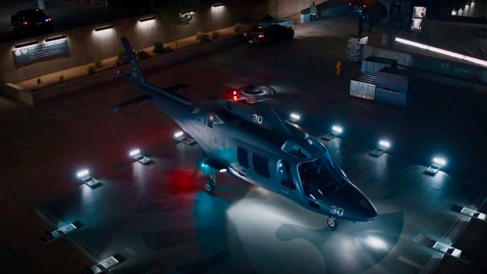 S.H.I.E.L.D. Director Nick Fury's helicopter lands at the Project P.E.G.A.S.U.S. facility in 2012.