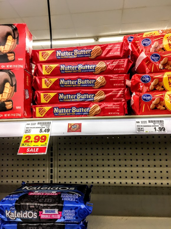 A store shelf displaying Nutter Butters.