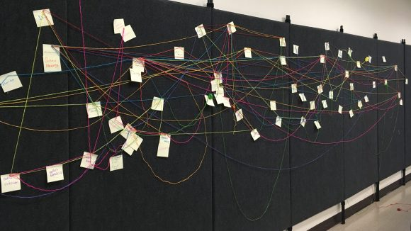 """Image Description: Seven large black display boards positioned side by side cover a classroom wall. The boards contain dozens of yellow sticky notes, each containing students' responses to the questions, """"What is performance studies? Who is performance studies? Where is performance studies?"""" The sticky notes have been connected by yarn that weaves in and out of different locations, representing diverse genealogies and points of connection amongst people, places, and ideas."""