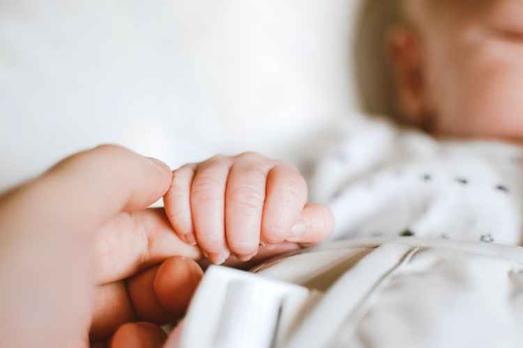 person holding baby s hand