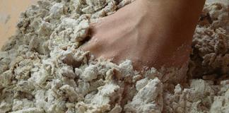 Woman kneading dough