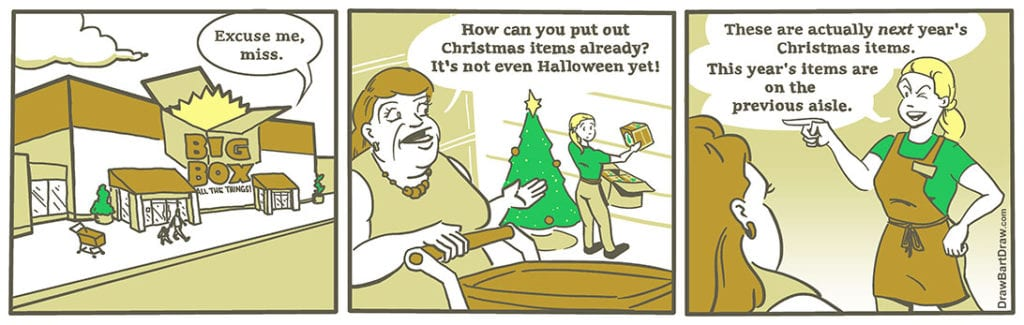 Comic Strip About Early Christmas Deorations