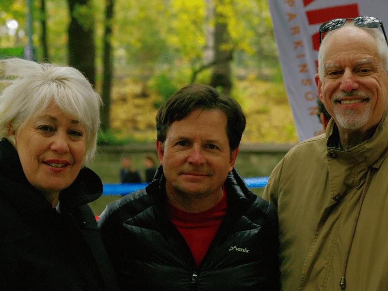 Michael J. Fox with Janice and Len Nachbar at the NYC Marathon