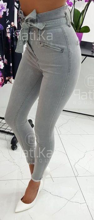 fb207277d4 Jeansy wiazane w pasie jasnoszare ...