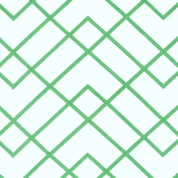 green and white trellis fabric