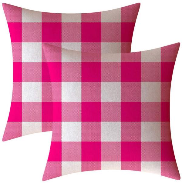 pink buffalo check pillows
