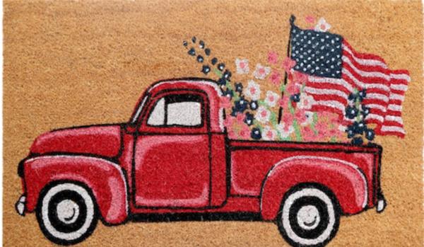 Patriotic red truck door mat