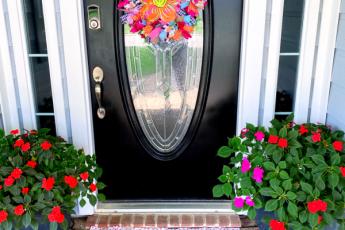 front door, flowers, doormat