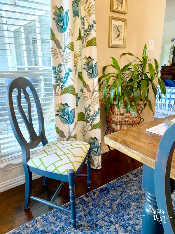 blue dining chair, white and green fabric cushion