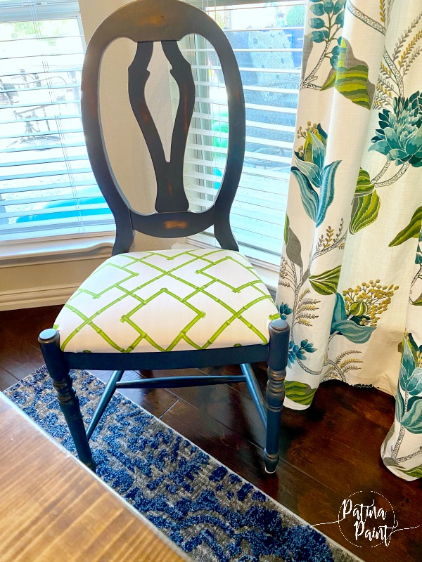 blue dining chair, floral curtains