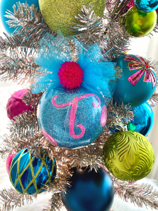 Monogram blue ornament