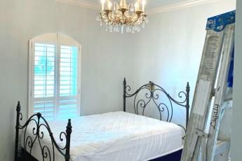 chandelier, bed