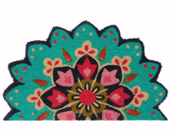 Pink and Blue Floral Mandala doormat