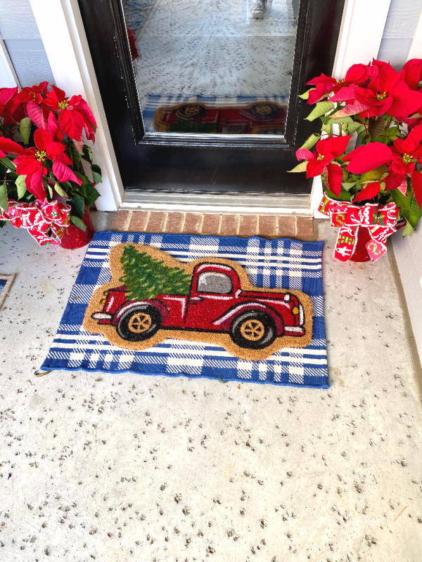 door mat, poinsettias