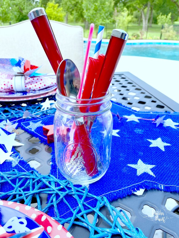 mason jar, silverware, straw