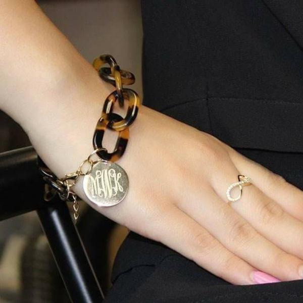 monogramed link bracelet
