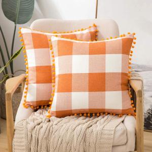 Orange and White Pom Buffalo Check Pillow Covers