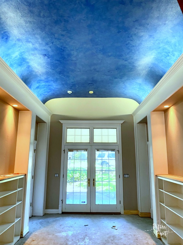 blue faux finished ceiling