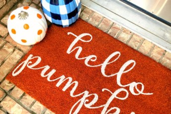 Painted Pumpkins and door mat