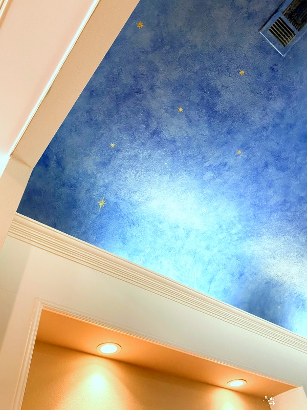 stars on faux painted ceiling