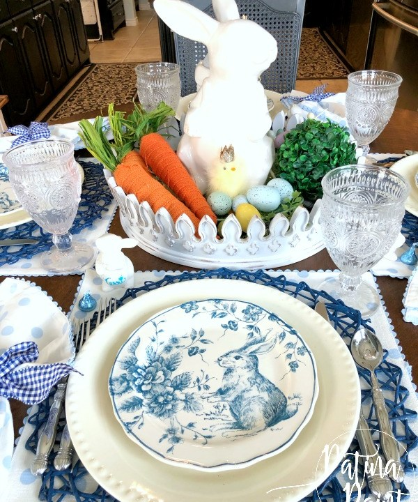 blue and white bunny plate