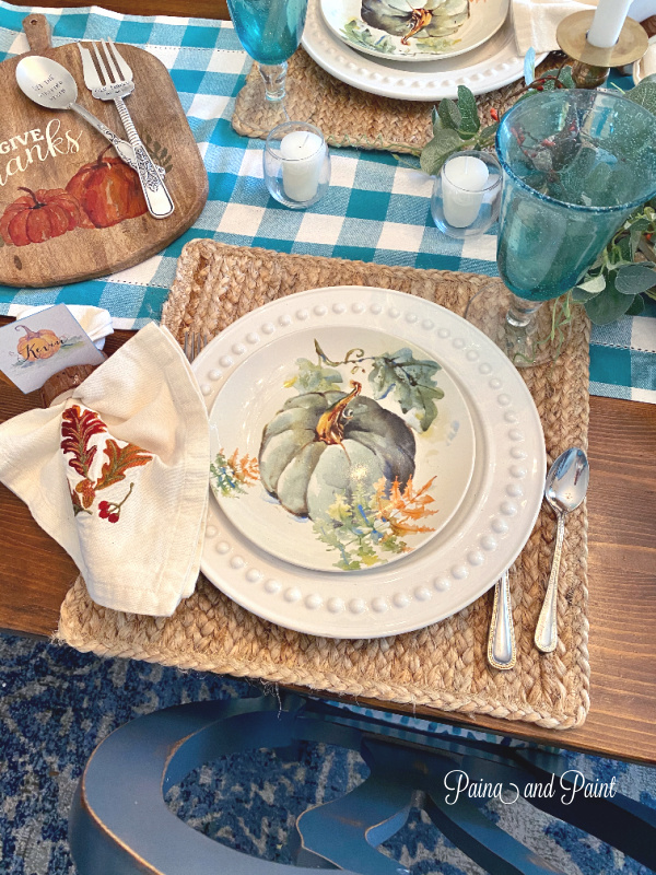 turquoise and orange table setting