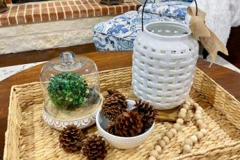 basket , vase, pinecones
