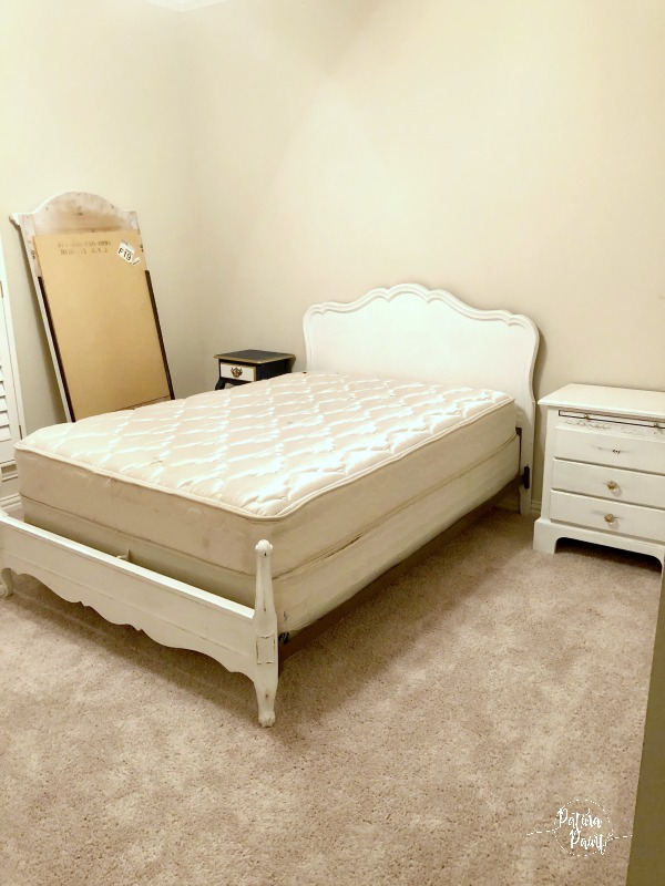 white headboard and mattress