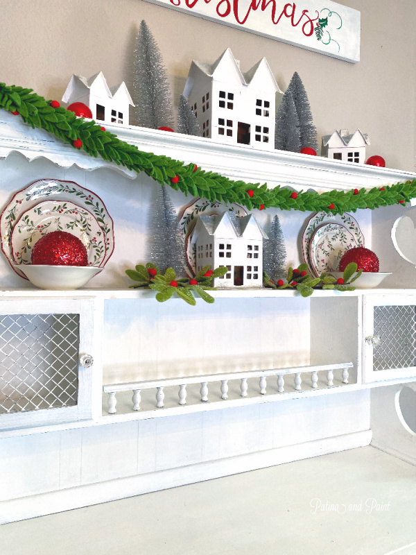 Christmas decor, white hutch
