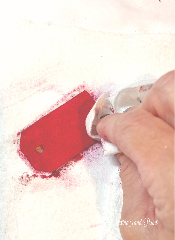 painting a wooden tag