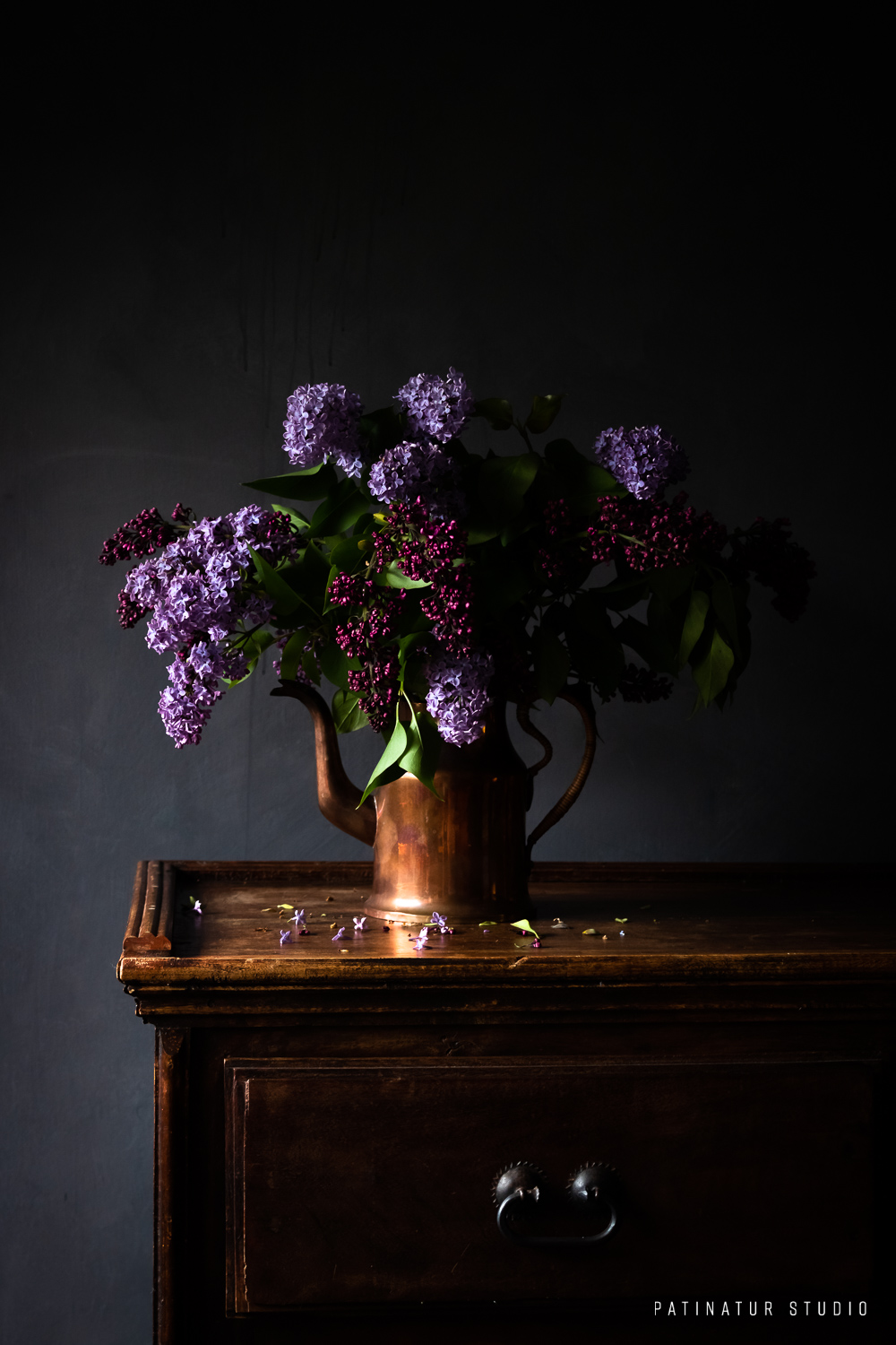 Photo art | Dark and moody still life with lilacs in copper jug