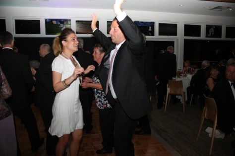Tennis Coach Bill Madafferi kicks up his heels with wife Carmen to the swinging sound of the Valaries