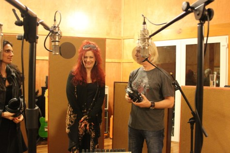 Vered Harel, Lucy Gale and Mick Pealing recording songs for Chopper the Musical at Black Pearl Studios.