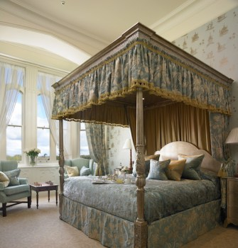 The bedroom in the 'presidential suite' at Dromoland Castle in County Clare.