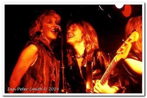 Nikki Nicholls performing with Suzie Quatro in the 1970s