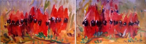 By Faye Depasquale titled 'Sturts Desert Peas'