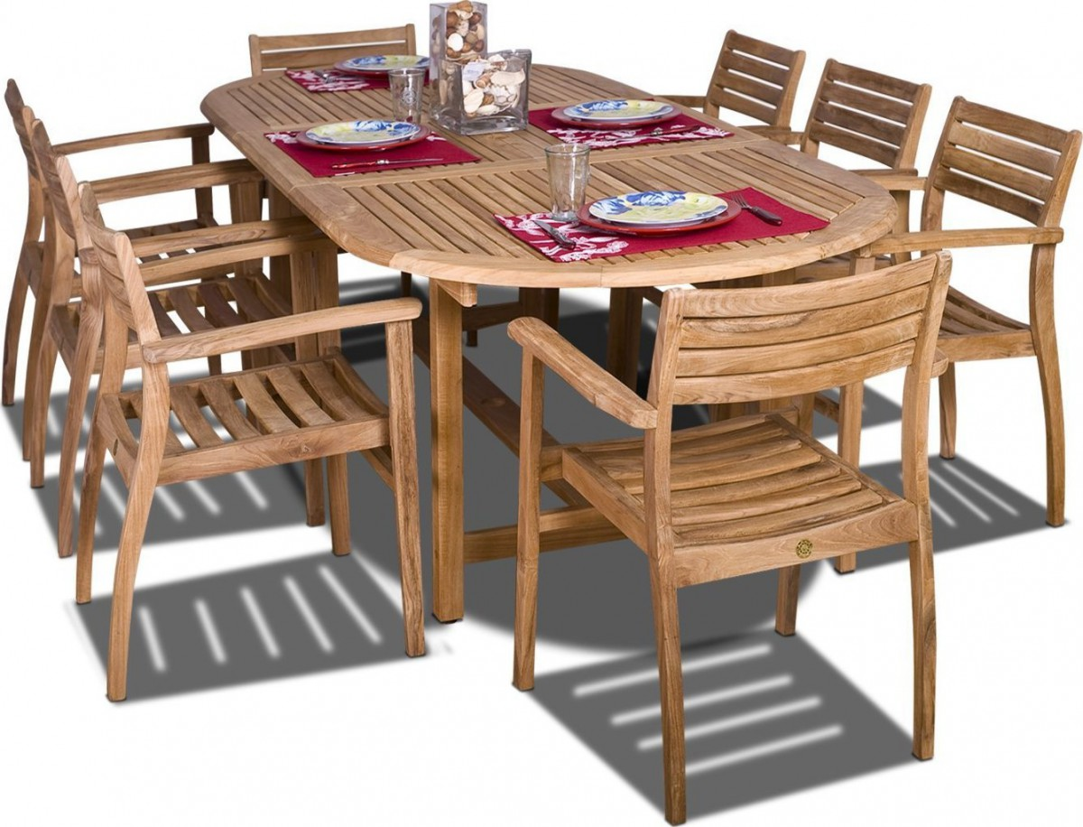 Amazonia Teak Coventry 9 Piece Oval Teak Outdoor Dining