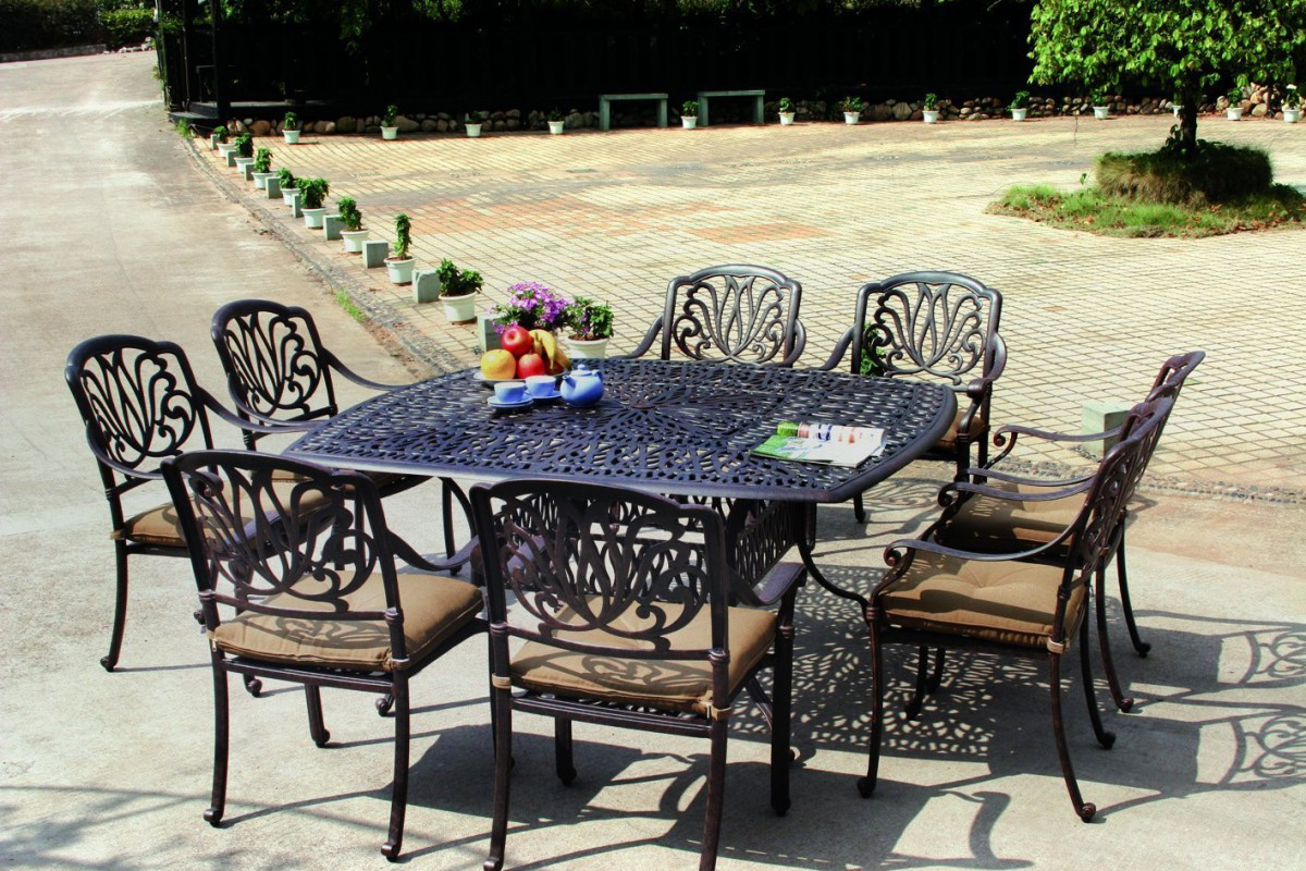 Darlee Elisabeth Cast Aluminum 9 Piece Patio Dining Set