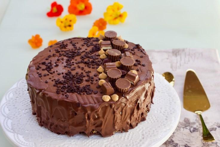 עוגת שוקולד, מוס חמאת בוטנים ופצפוצים מקורמלים