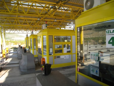 Split, Croatia yellow tollway booths