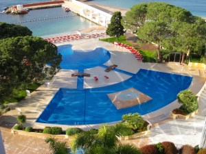 Pool and private beach at Le Meridien Hotel